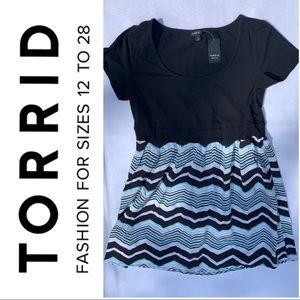 Torrid Knit to Woven Chevron Skater Skirt